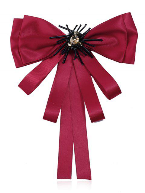 Multilayers Ribbon Bowknot Collar Brooch - RED WINE