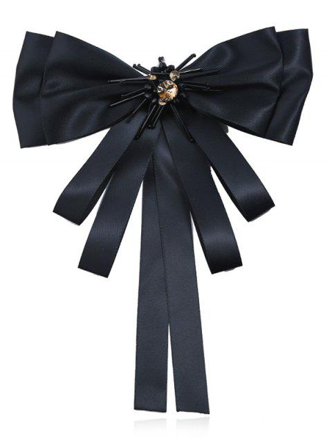 Multilayers Ribbon Bowknot Collar Brooch - BLACK