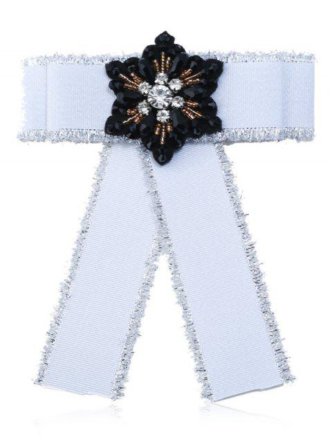 Faux Gem Bowknot Fringed Collar Brooch - WHITE
