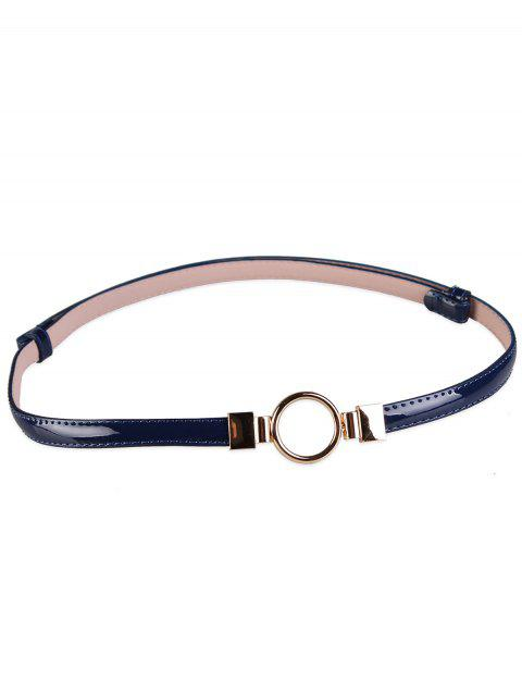 Metal Round Buckle Artificial Leather Skinny Belt - BLUE