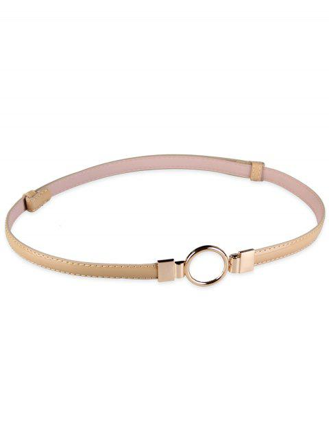Metal Round Buckle Artificial Leather Skinny Belt - BEIGE