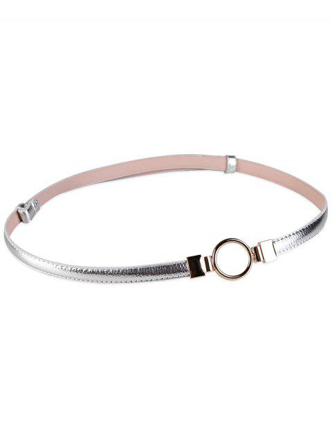 Metal Round Buckle Artificial Leather Skinny Belt - SILVER