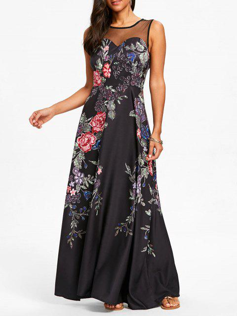 Floral Print Mesh Insert Maxi Dress - BLACK S