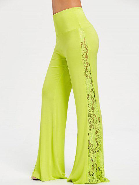 High Waist Lace Insert Wide Leg Pants - GREEN YELLOW L