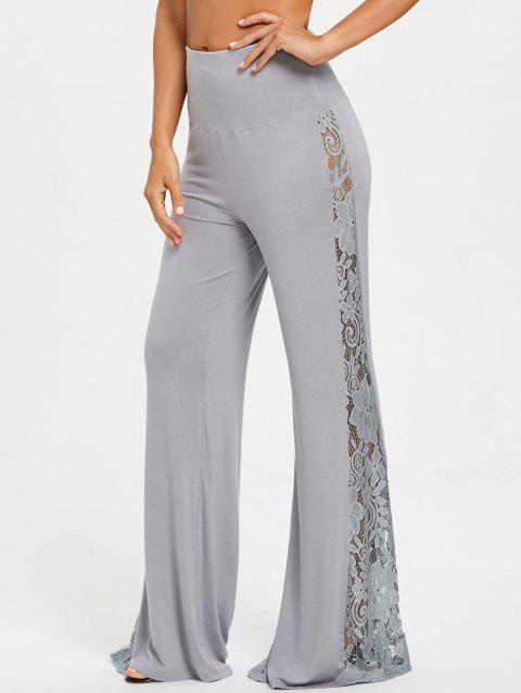 High Waist Lace Insert Wide Leg Pants - GRAY XL