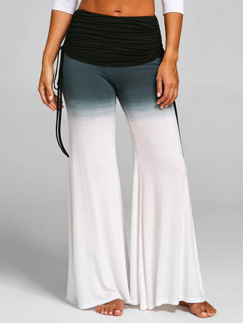 Ruched Waisted Bell Bottom Pants - WHITE L
