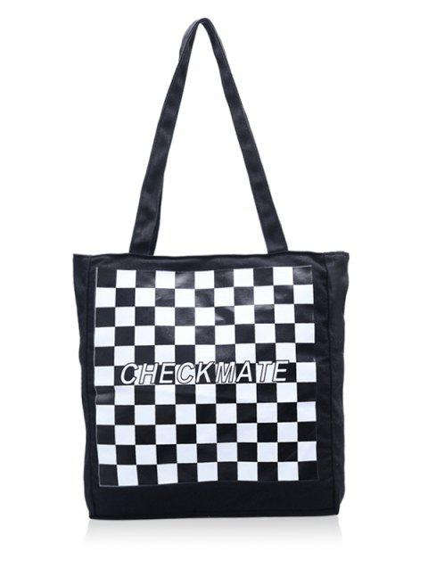 a676ae1acb14 LIMITED OFFER  2019 Square Plaid Letter Print Big Capacity Tote Bag ...