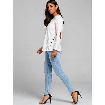 Button Elbow Patch Long Sleeve Top - WHITE M