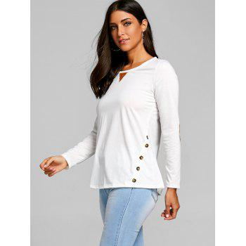 Button Elbow Patch Long Sleeve Top - WHITE XL
