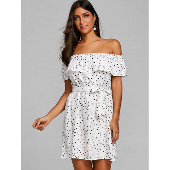 Off Shoulder Belted Polka Dot Dress - WHITE XL
