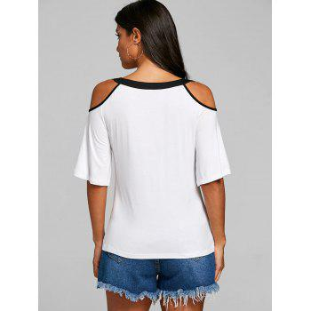 Mesh Panel Open Shoulder Blouse - WHITE L