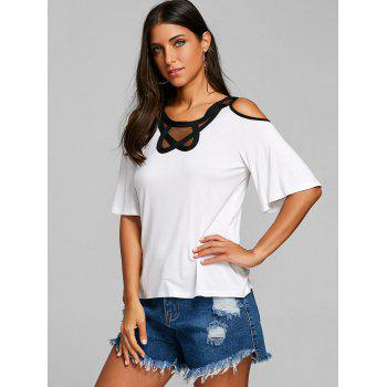 Mesh Panel Open Shoulder Blouse - WHITE 2XL