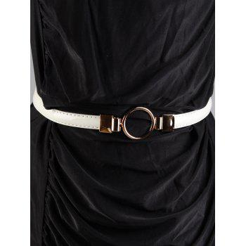 Metal Round Buckle Artificial Leather Skinny Belt - WHITE