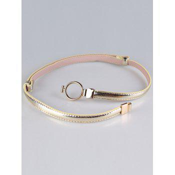Metal Round Buckle Artificial Leather Skinny Belt - GOLD