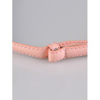 Metal Round Buckle Artificial Leather Skinny Belt - LIGHT PINK