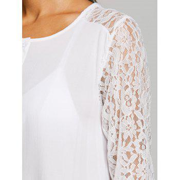 Lace Panel Short Cover Up Dress - WHITE M