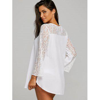 Lace Panel Short Cover Up Dress - WHITE XL