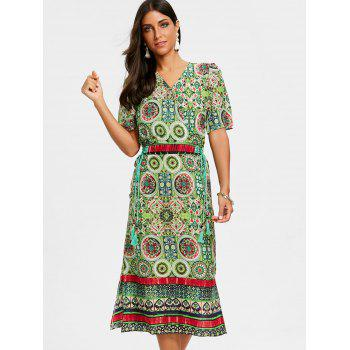 Bohemian Print Tea Length Surplice Dress - GREEN 2XL