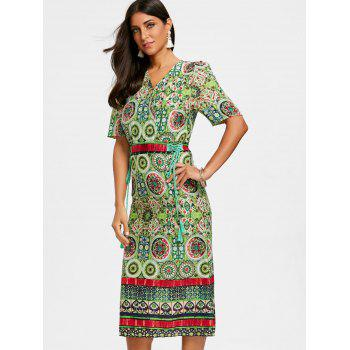 Bohemian Print Tea Length Surplice Dress - GREEN M