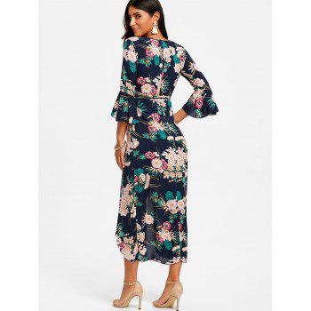 Floral Flare Sleeve Surplice Maxi Dress - BLACK S