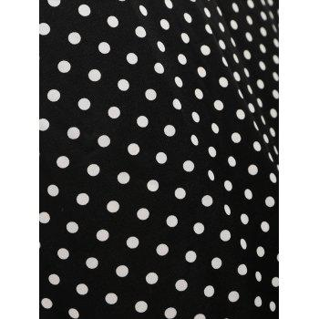 High Waisted Plus Size Polka Dot Skirt - BLACK 3XL