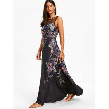 Floral Print Mesh Insert Maxi Dress - BLACK 2XL