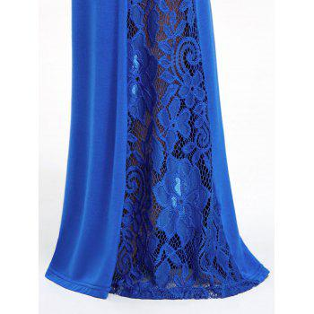 High Waist Lace Insert Wide Leg Pants - BLUE S