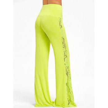 High Waist Lace Insert Wide Leg Pants - GREEN YELLOW S