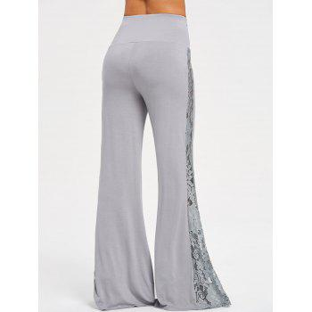 High Waist Lace Insert Wide Leg Pants - GRAY S