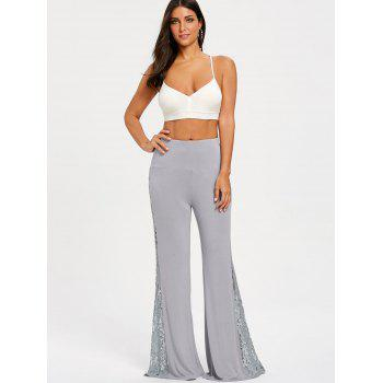 High Waist Lace Insert Wide Leg Pants - GRAY 2XL