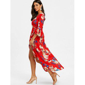 Plunge High Slit Printed Maxi Dress - RED L
