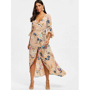 Plunge High Slit Printed Maxi Dress - KHAKI ROSE S