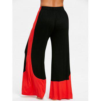 High Waisted Two Tone Palazzo Pants - BLACK XL