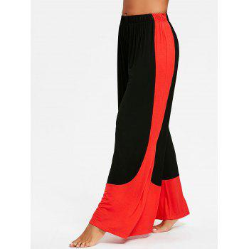 High Waisted Two Tone Palazzo Pants - BLACK 2XL