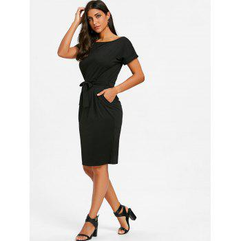 Self Tie Casual Dress - BLACK L