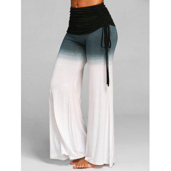 Ruched Waisted Bell Bottom Pants - WHITE M