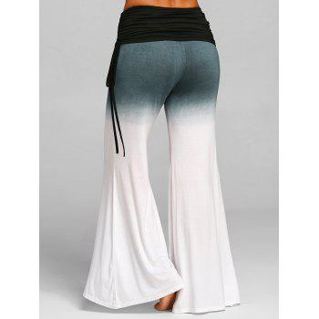 Ruched Waisted Bell Bottom Pants - WHITE XL