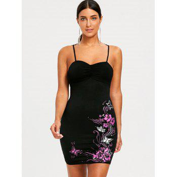 Lace Trim Floral Sleeveless Bodycon Dress - BLACK L