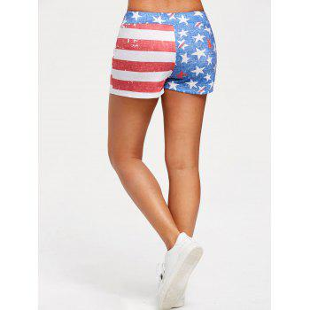 American Flag Print Drawstring Shorts - BLUE XL