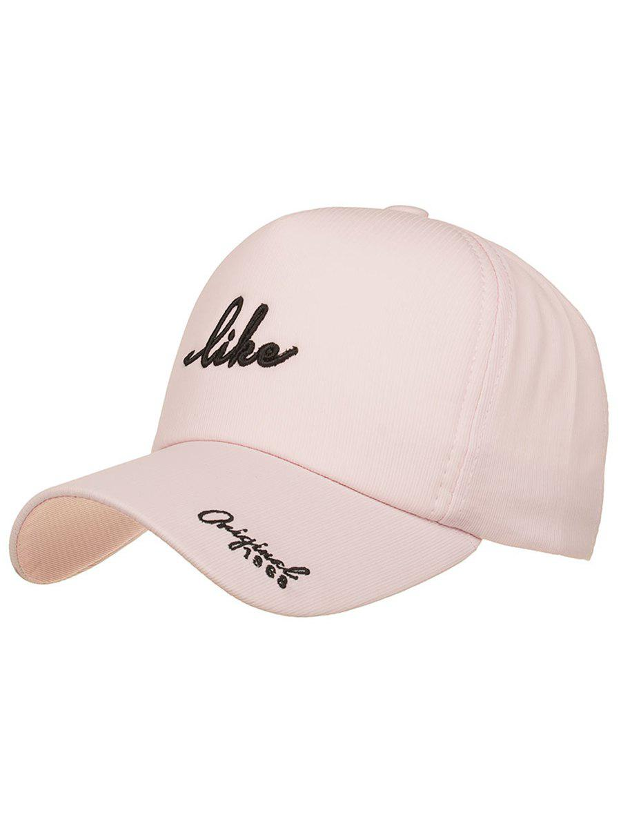 Striped Pattern Like Embroidery Snapback Hat - PIG PINK