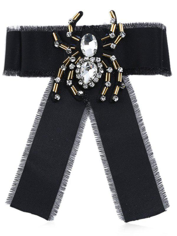 Rhinestone Spider Decorated Collar Brooch - BLACK