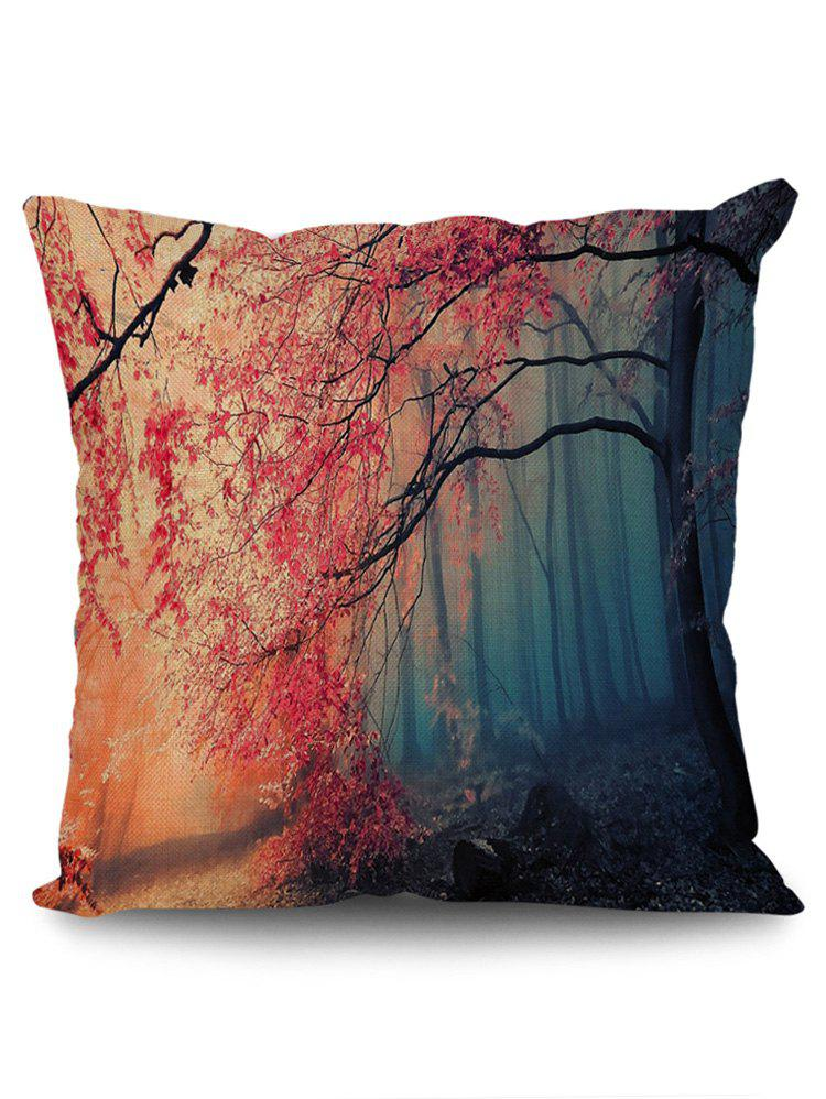Maple Forest Print Linen Sofa Pillowcase - RED W18 INCH * L18 INCH