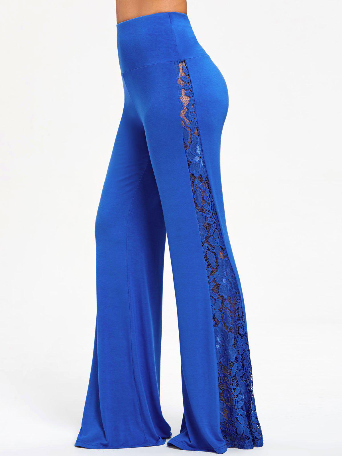High Waist Lace Insert Wide Leg Pants - BLUE 2XL