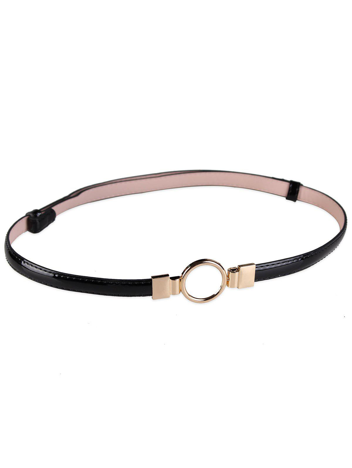 Metal Round Buckle Artificial Leather Skinny Belt - BLACK