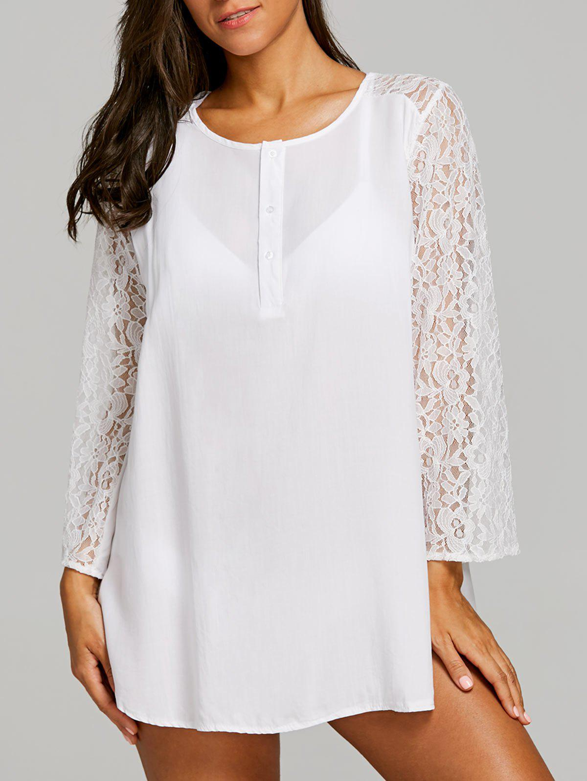 Lace Panel Short Cover Up Dress - WHITE S