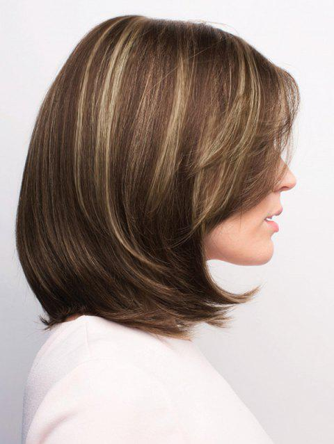 Short Side Parting Straight Highlight Bob Synthetic Wig - OAK BROWN
