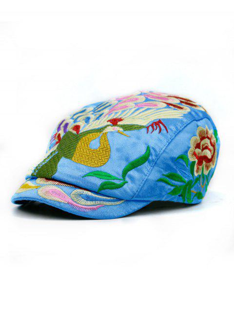 Peacock Embroidered Ivy Hat - SKY BLUE