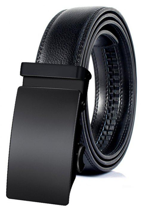 Vintage Faux Leather Automatic Buckle Business Formal Belt - BLACK 130CM