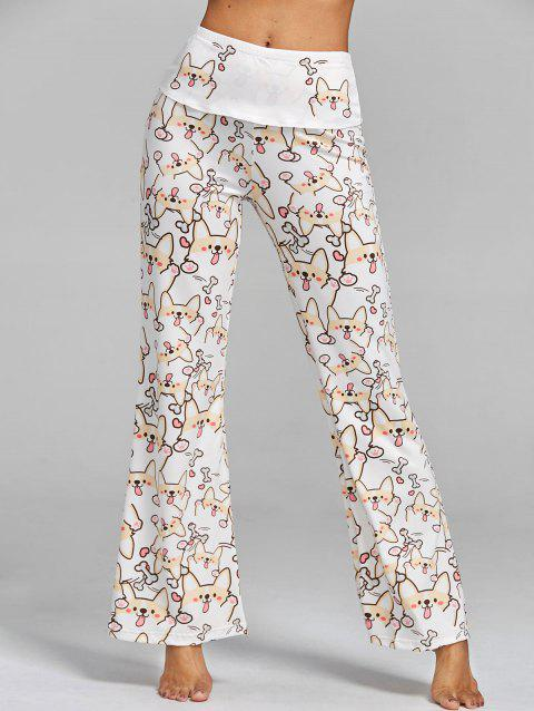 High Waisted Dog Print Wide Leg Pants - WHITE M