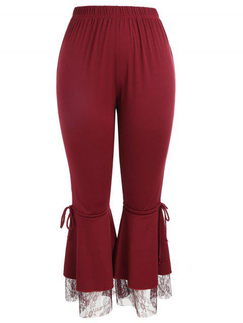Lace Trim Plus Size Flare Pants - WINE RED 4XL